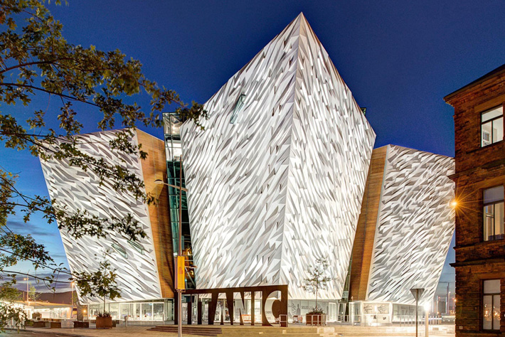 Majestic end elevation taken of the Titanic Museum in Belfast