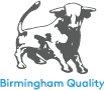Birmingham Quality Logo; vectorised artist's impression of Birmingham Bull with 'Birmingham Quality' written below it in cyan