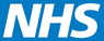 Classic NHS logo; white text on light blue background