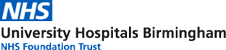 Classic NHS logo; white text on light blue background with added strapline for UHBFT