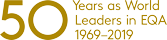 50 years as world leaders in EQA logo finished in gold